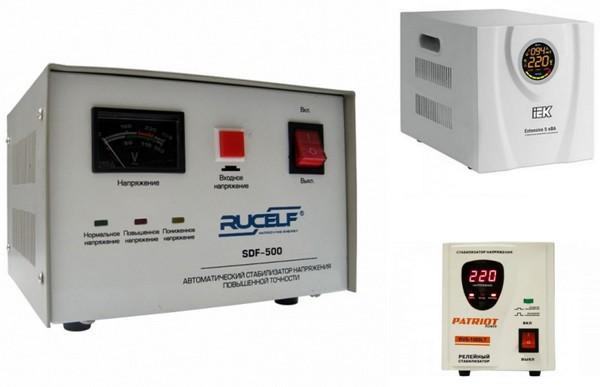 Elektromekaniske, elektroniske og relé stabilisatorer