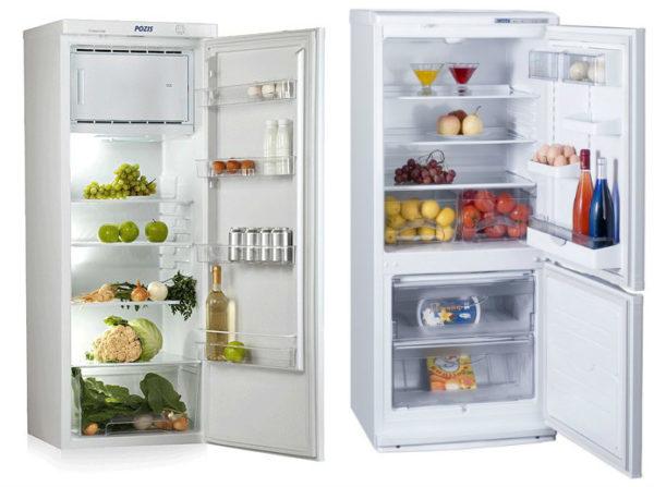 Tek odacıklı (solda) ve iki odacıklı (sağda) buzdolabı