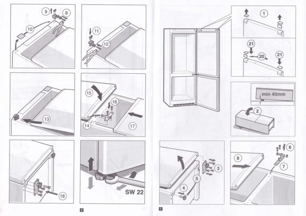 Comment dépasser la porte du réfrigérateur (schéma)