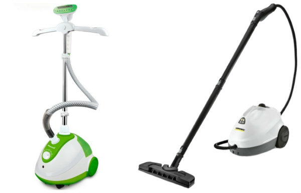 Buharlı (solda) ve buharlı temizleyici (sağda)