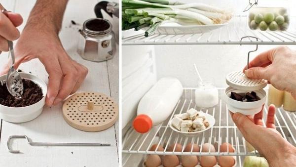 Marc de café de l'odeur dans le réfrigérateur