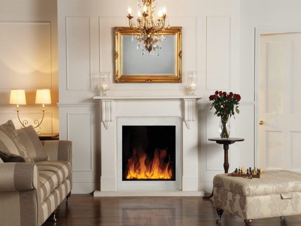 White electrofireplace for a drawing room in classical style