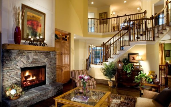 Country-style living room fireplace