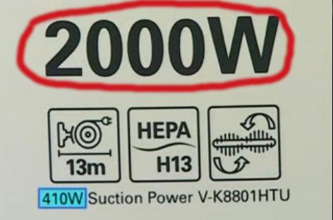 Power consumption of the vacuum cleaner
