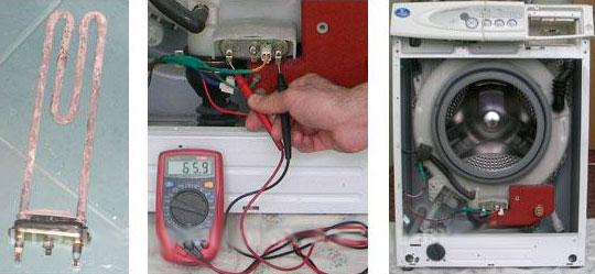 Test de l'élément chauffant de la machine à laver