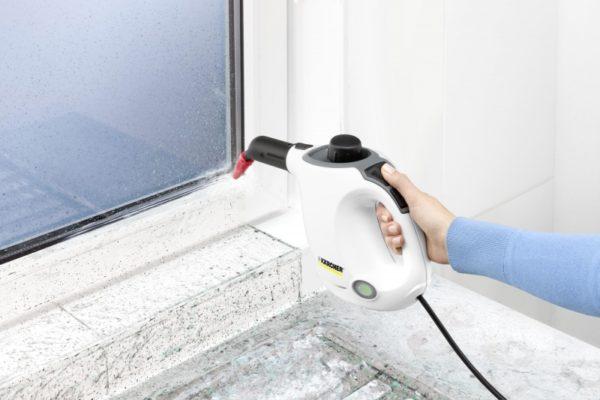 स्टीम क्लीनर के साथ खिड़की की सफाई