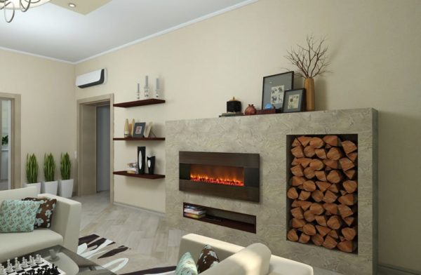 Built-in electric fireplace