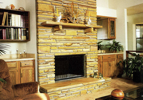 Fireplace with stone trim