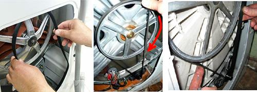 Installation de la courroie dans la machine à laver
