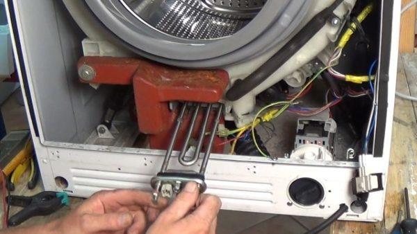 Samsung çamaşır makinesinde ısıtma elemanlarının yeri