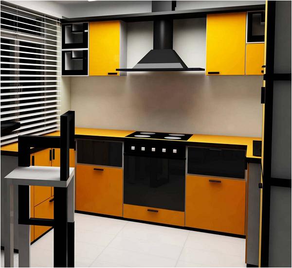 Cuisine orange et hotte noire