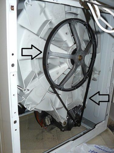 Machine à laver à entraînement par courroie
