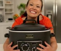 Girl with a slow cooker