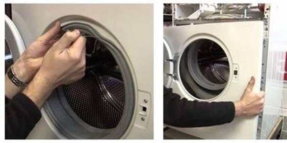 Retrait de la paroi frontale de la machine à laver