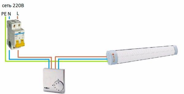 Kızılötesi ısıtıcının termostattan bağlantı şeması