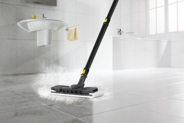 Karcher steam mop at work