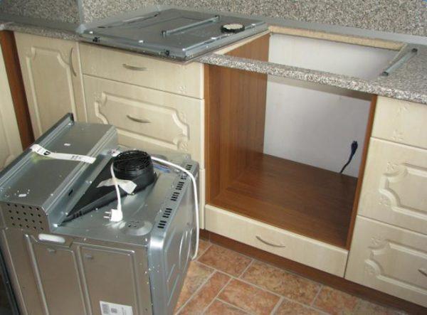 Preparación del nicho y del lugar de trabajo bajo el horno.