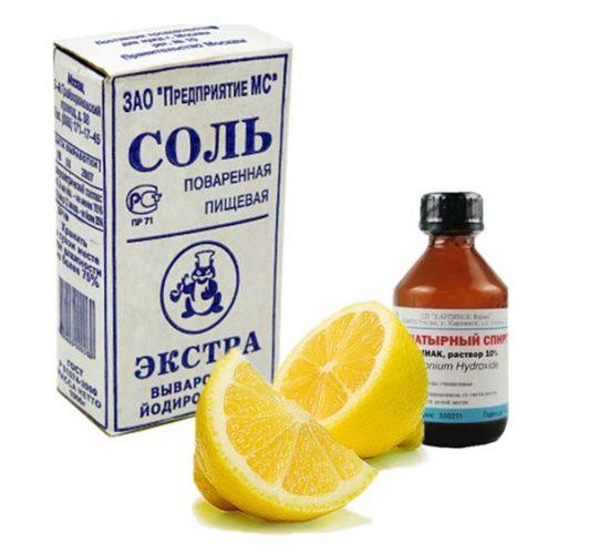 La combinaison de sel, citron et ammoniac pour le nettoyage