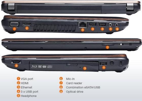 Connectoren op de zijpanelen van de laptop