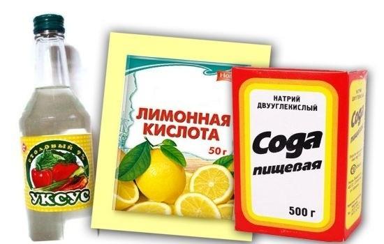 Vinaigre, acide citrique et soude