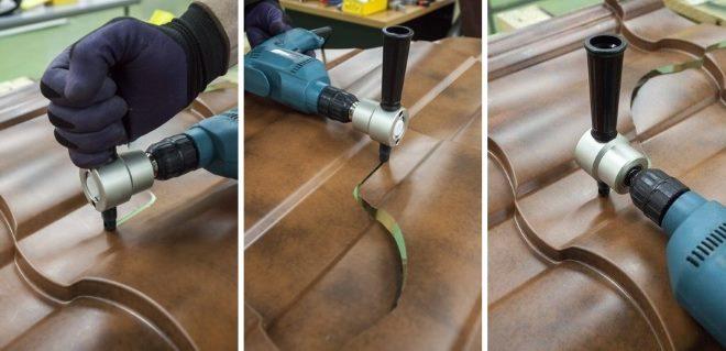 Couper des tuiles métalliques