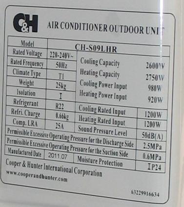 Étiquette de climatiseur