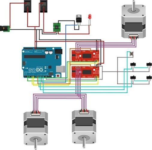 Schéma de connexion des moteurs électriques pas à pas