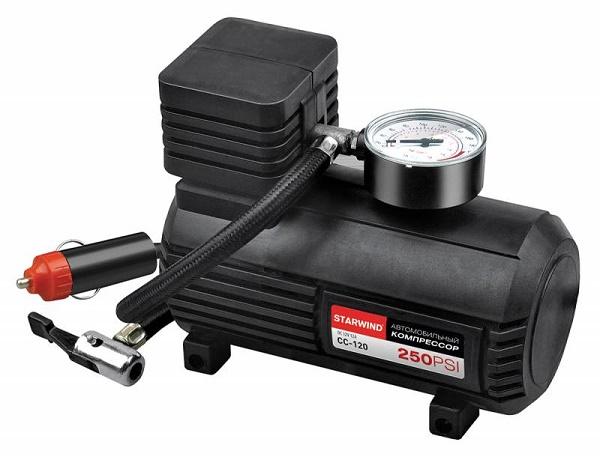 Autokompressor med tryckmätare